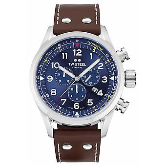 TW Steel Swiss Volante Brown Leather Strap Blue Dial SVS201 Watch