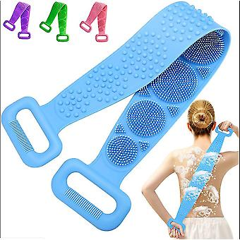 Blue body cleaning double sided back scrubber bath shower silicone spa brush tool az17787
