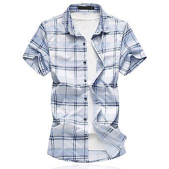 Allthemen الرجال عارضة فضفاضة تناسب الأزرق مربع قصير الأكمام قميص