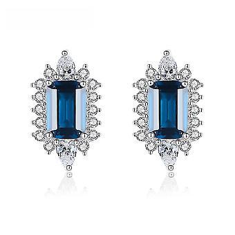 Ear Studs S925 Sterling Sølv blå farvede perler øreringe til daglig brug