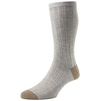 Pantherella Hamada contraste talon et les orteils chaussettes Lin - Lin Beige