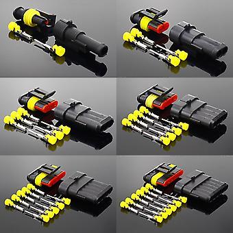2-5sets Kit 2 pin 1/2/3/4/5/6 Pins Way AMP Super Seal Водонепроницаемый электрический провод Разъем Штекер для автомобильного водонепроницаемого разъема