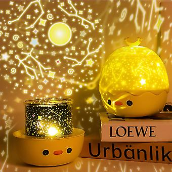 Crown Duck Starry Sky Projection Lamp Bluetooth Remote Control Rotating Music Led Atmosphere Children's Night Light
