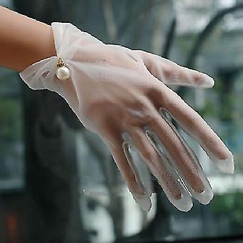 Bride Wedding- Short Design Lace Transparent Gloves
