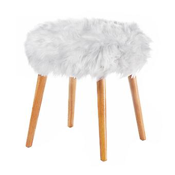 Accent Plus Faux Fur Stool with Wood Legs - White, Pack of 1