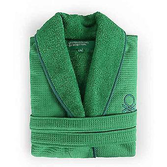Vestido vestido Benetton Rainbow Verde Algodão Curl tecido