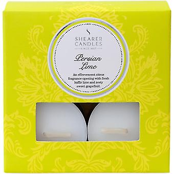 """Candles """"persian lime scented tea lights  pack of 8  white"""