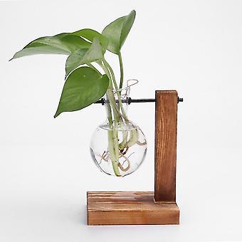 Nordisk stil miljövänligt glas och trävasplanterare terrarium(F)