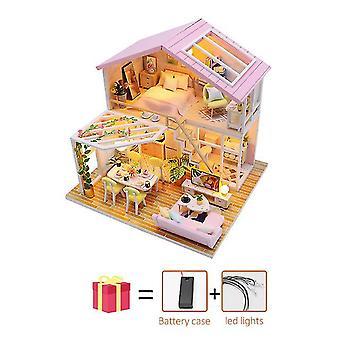 Virágszoba diy babaház fa miniatűr bútor babaház maison modell építőkészletek casa játékok