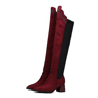 Overknee Boots Women Faux Suede Thigh High Boots Platform Stretch Slim