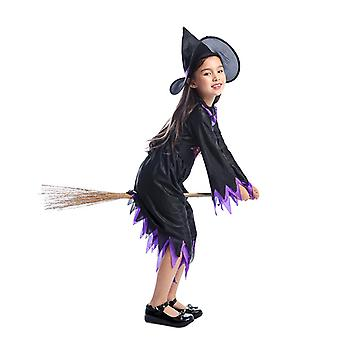 Witch Costume Halloween Party Fancy Dress Up Luxury Suit Hooded Skirt Girl