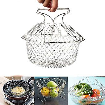 Extendable Fry Basket Foldable Stainless Steel Deep Fry Basket Net