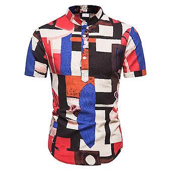 Men's Stand Collar Casual Button Lyhythihainen Havaiji t-paita