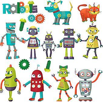 tegneserie robot vegg klistremerke hjem dekal (størrelse: 100cm x 65cm)