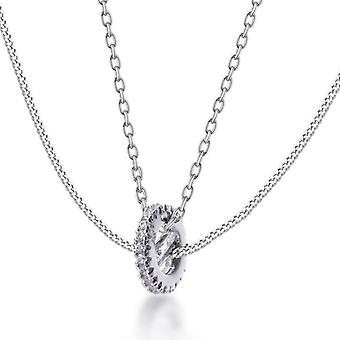Authentic 925 Sterling Silver Pendant Necklace Double Layer Chain Choker For Women|Necklaces