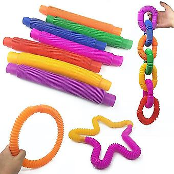 10st färgglada stretchiga stränguppsättning rolig fidget leksak stressavlastare