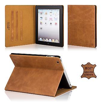 32e premium lederen Folio Case Cover voor Apple iPad Air 2 (iPad 6) - Tan