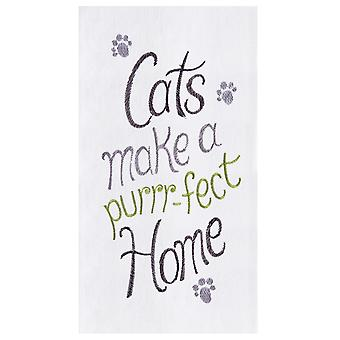 Cats Make a Purrrfect Home Flour Sack Kitchen Towel Cotton 27 Inch