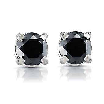 Weißes Gold 1 / 2ct rund geschliffenen schwarzen Diamanten Ohrstecker 14k