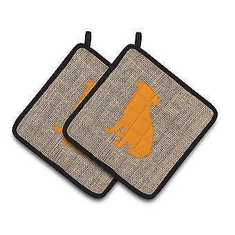 Pug Faux Burlap and Orange   Pair of Pot Holders