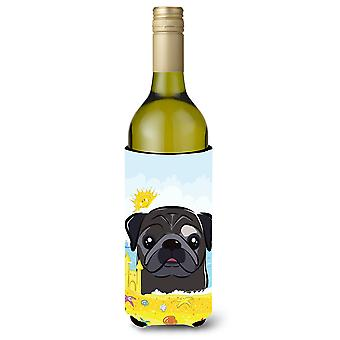 Black Pug Summer Beach Wine Bottle beverage Insulator Hugger
