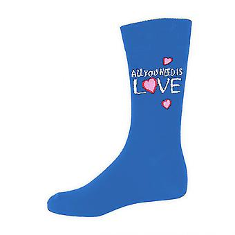 The Beatles All You Need Is Love Logo Oficial Hombres Nuevos Calcetines Azules Reino Unido Tamaño 7-11
