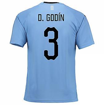 Thuis voetbalshirt van 2018-2019 Uruguay (D. Godin 3)