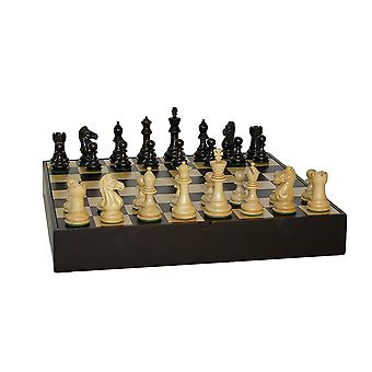 Black Pro Chess Set With Black/Maple Chest