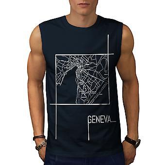 Genf Stadtplan Mode Männer NavySleeveless T-shirt | Wellcoda
