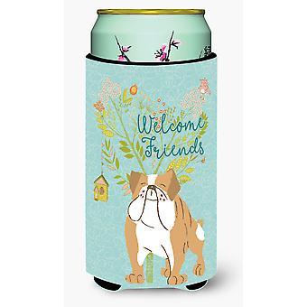 Welcome Friends English Bulldog Tall Boy Beverage Insulator Hugger