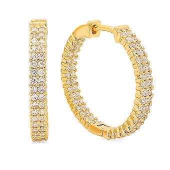 Dames 18K goud vergulde messing gesimuleerde Diamond Box hoepels