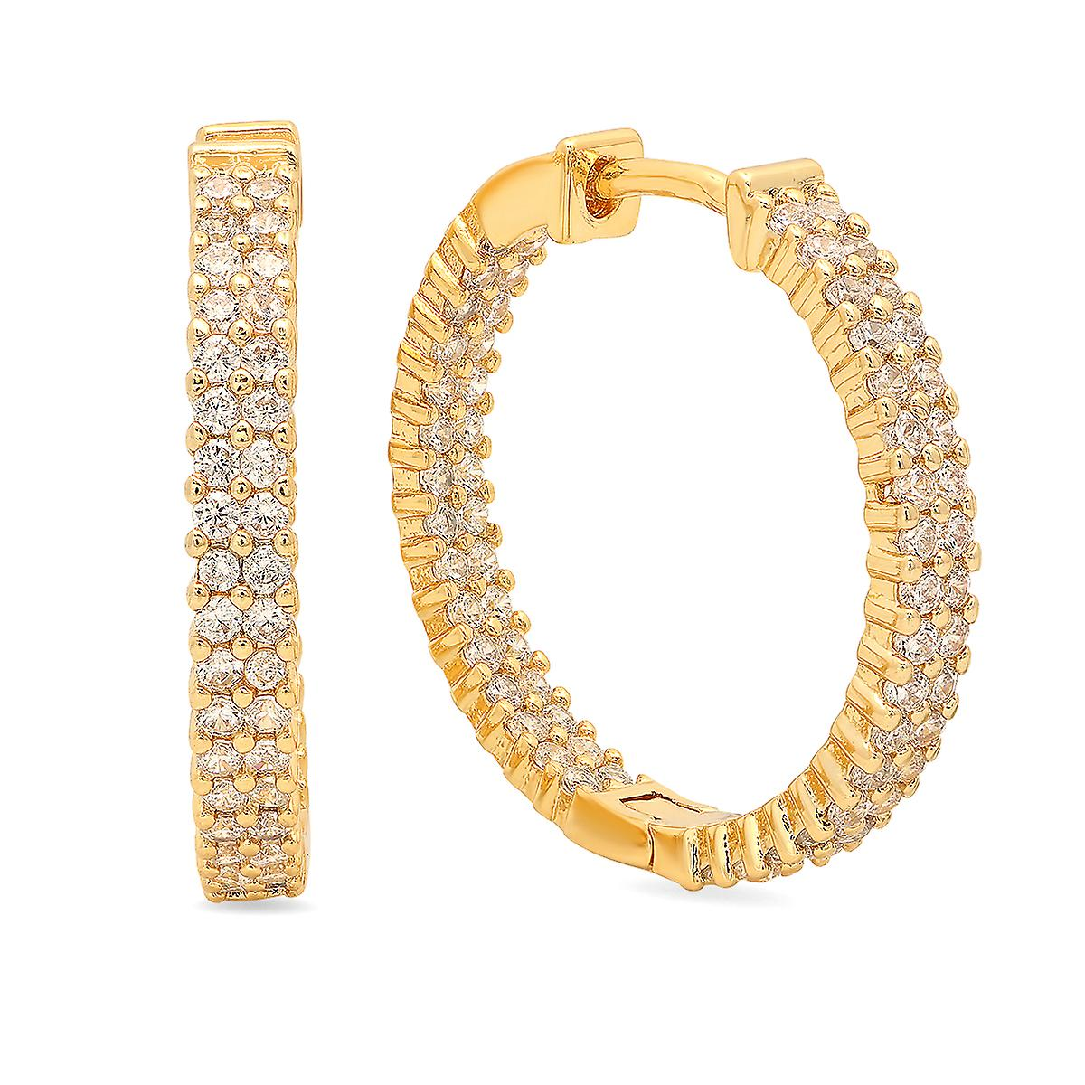 Ladies 18K Gold Plated Brass Simulated Diamond Box Hoops
