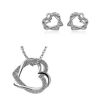 Womens Silver Double Heart Jewellery Necklace and Earrings Love Set