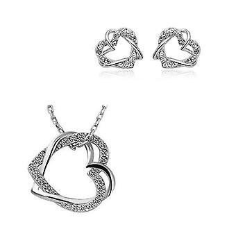 Womens prata coração duplo joias colar e brincos Set de amor