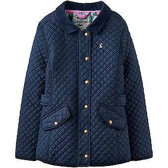 Joules Girls Newdale Zip Up Stitched Printed Quilted Warm Jacket Coat