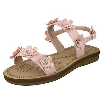 Tytöt paikalla Slingback Flowery sandaalit H0292 - vaaleanpunainen synteettinen - UK koon 12 - EU: N koko 30 - US koko 13