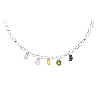 Orphelia Silver 925 halsband färgade ovaler ZK-2687