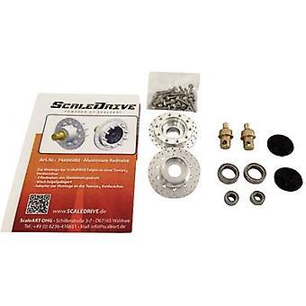 ScaleDrive 74000080 1:14 przednia oś aluminiowe koła piasty 1 szt.