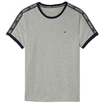Tommy Hilfiger Logo Tape Crew Neck T-Shirt, Heather Grey, Medium
