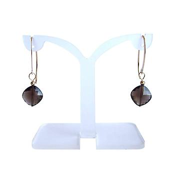 Gold gemstone earrings smoky quartz earrings smoky quartz earrings gold plated