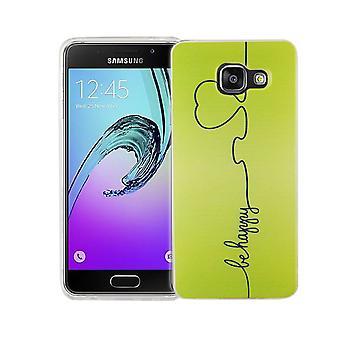 Téléphone portable Etui silicone de slim de motif d'affaire sac protecteur de la couverture du Samsung Galaxy A3 2016 TPU être heureux vert