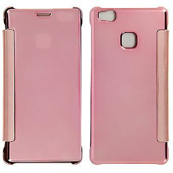 Flip tilfelle, speil sak for Huawei P9 Lite, se gjennom front flip - rosa