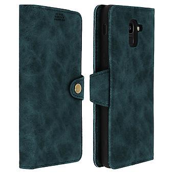 Retro flip cartera, pie funda para Samsung Galaxy J6 - verde-azul