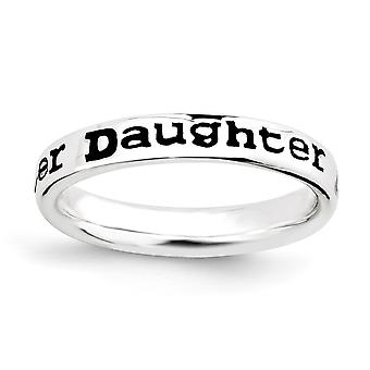 925 Sterling Silver Patterned Black Enamel Rhodium-plated Stackable Expressions Polished Enameled Daughter Ring - Ring S