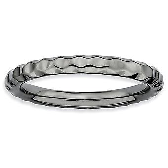 925 Sterling Silver Polished Patterned Ruthenium plating Stackable Expressions Black plated Hammered Ring Jewelry Gifts