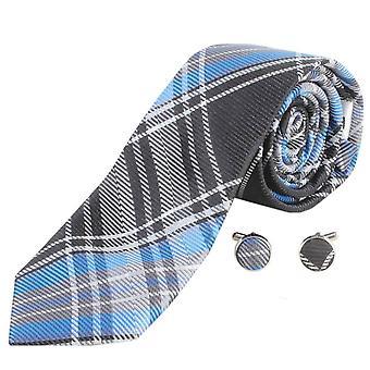 Knightsbridge Neckwear sjekk slips og mansjettknapper sett - blå/grå/svart
