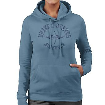 US Airforce Winged Propeller Navy Blue Text Women's Hooded Sweatshirt