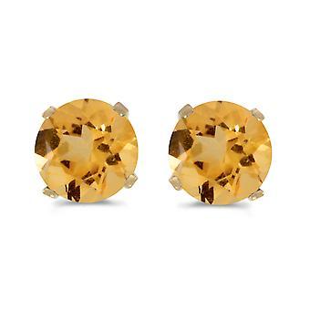 LXR 5mm luonnollinen pyöreä sitruunatulppa korvakorut asetettu 14k keltainen kulta 0.66ct