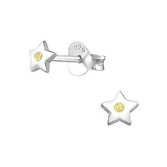 Star - 925 Sterling Silver Cubic Zirconia Ear Studs - W27236X