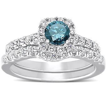 1 1/4ct Cushion Halo Blue Diamond Engagement Ring Set 14K White Gold